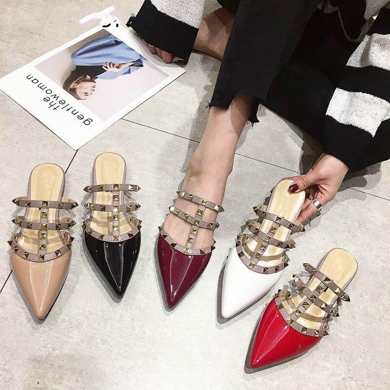 LZJ Women Flat Slip On Mules Brand Designers 2019 Fashion Luxury Rivet T-strap Slides Slip On Loafers Mules