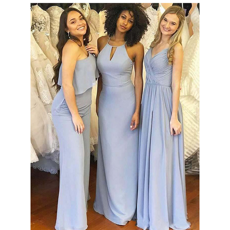 2019 Sky Blue Chiffon   Bridesmaid     Dresses   Mixed Styles Sleeveless Floor Length Plus Size Maid of Honor Gown