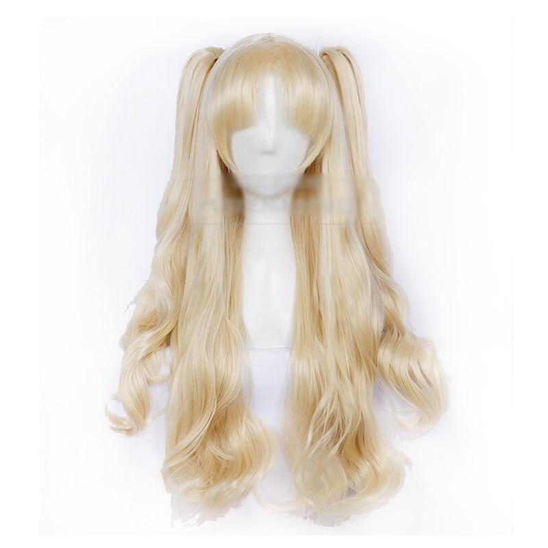 80cm FGO Fate Grand Order Ereshkigal Cosplay Wig Servant Lancer Ponytails Blond Facial Hair + wig cap