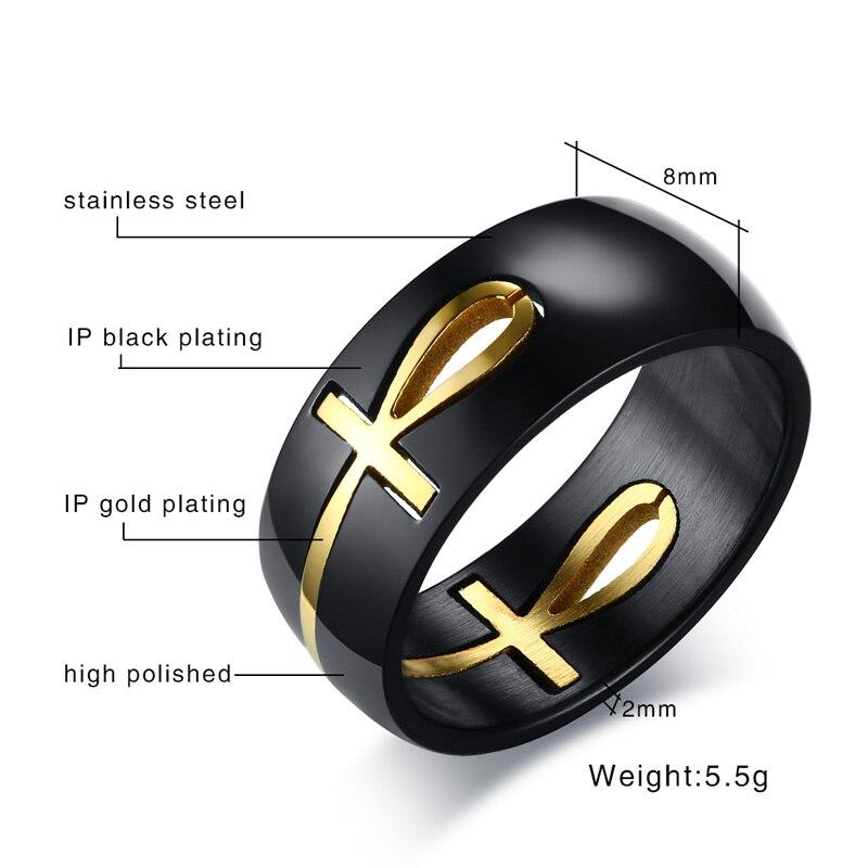 b349f25bbd88 Meaeguet Separable Ankh Cruz egipcia anillo hombres oro negro de acero  inoxidable clave de la vida de la boda hombre Anel de la joyería en Anillos  de ...