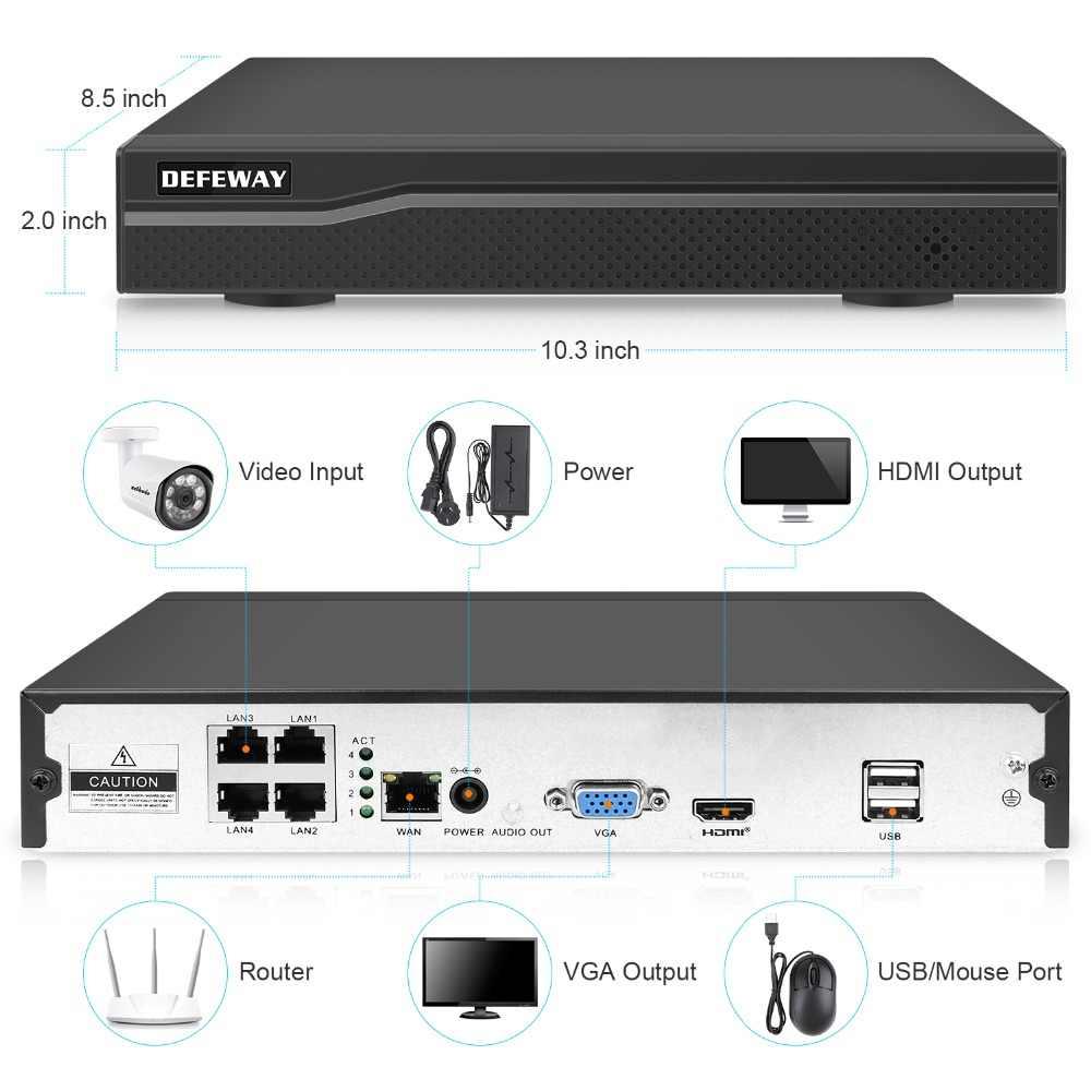 DEFEWAY 4CH 1080 P HDMI NVR комплект POE CCTV системы ИК Ночное Видение 2MP Открытый безопасности IP камера P2P видео набор для наблюдения 4