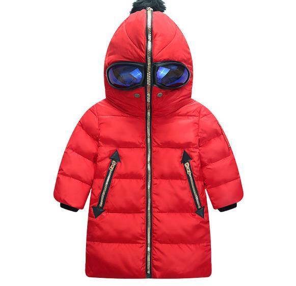 Kids Clothing Warm Ski Suit Long Sleeve Children s Jackets Hooded Glasses Pattern Kid Down Jackets