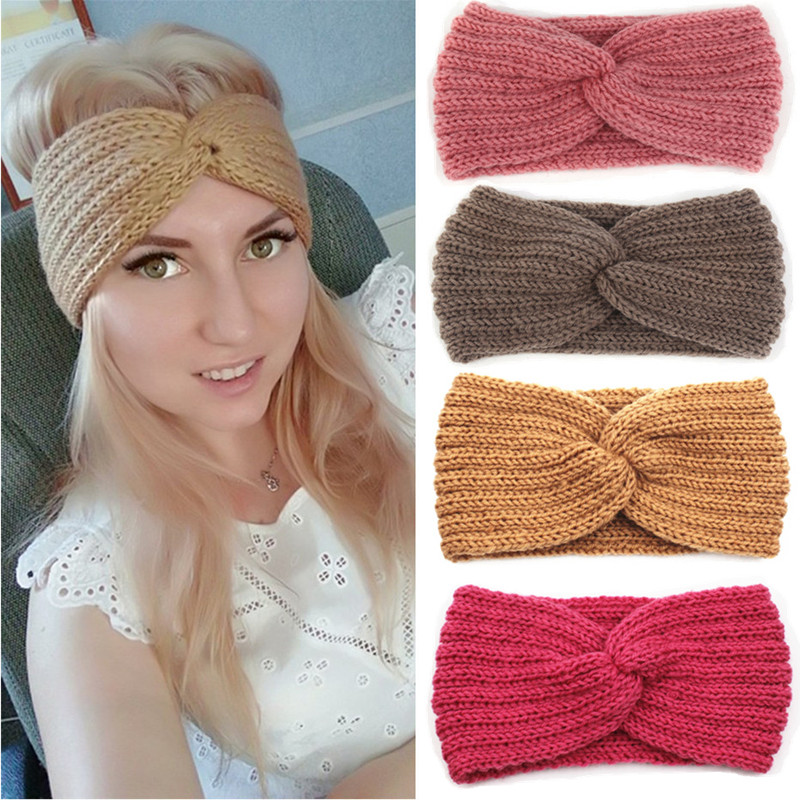 Winter Ear Warmer Headband Women Fashion Elastic Wool Knitted Headband Head Wrap Hairband Girls Elegant Hair Band Accessories