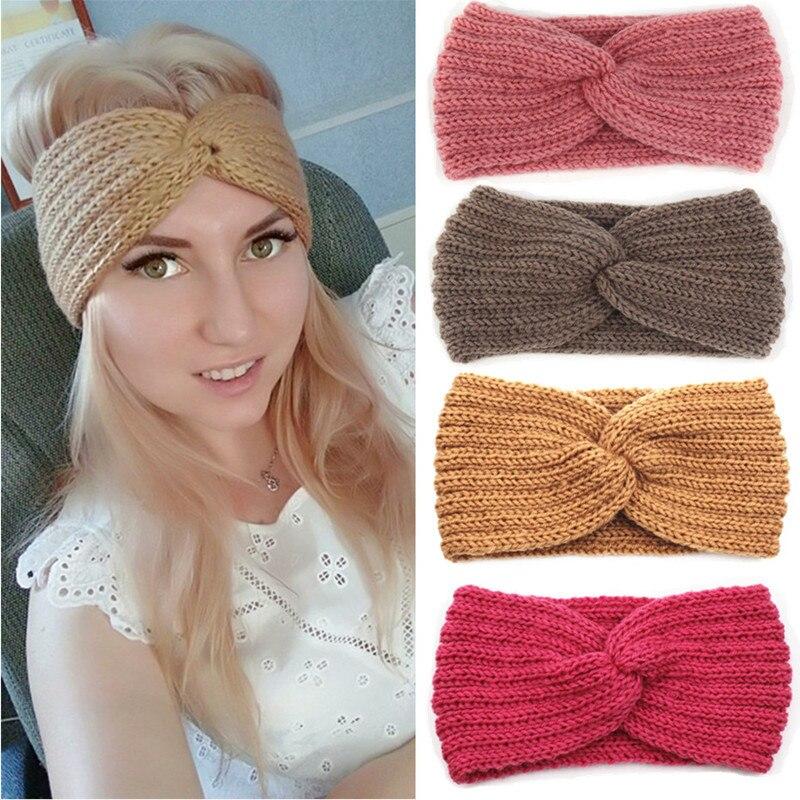 Winter Ear Warmer Headband Women Fashion Elastic Wool Knitted Headband Head  Wrap Hairband Girls Elegant Hair Band Accessories e212c6eaaf1