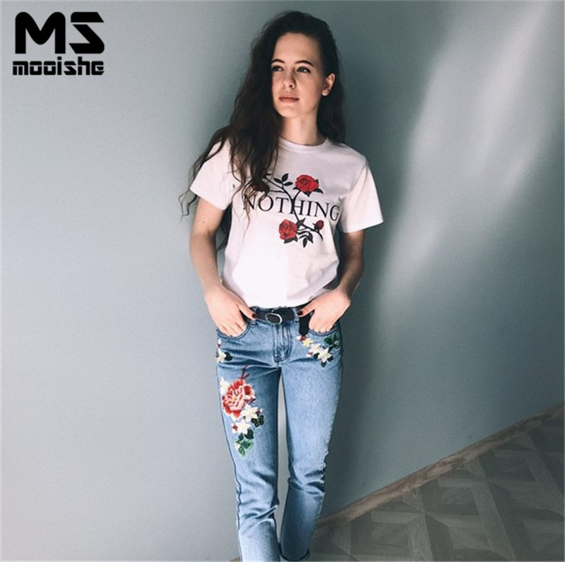 Mooishe Ins Women Floral T Shirt Short Sleeve Nothing Letter Rose Flower Print White T Shirt