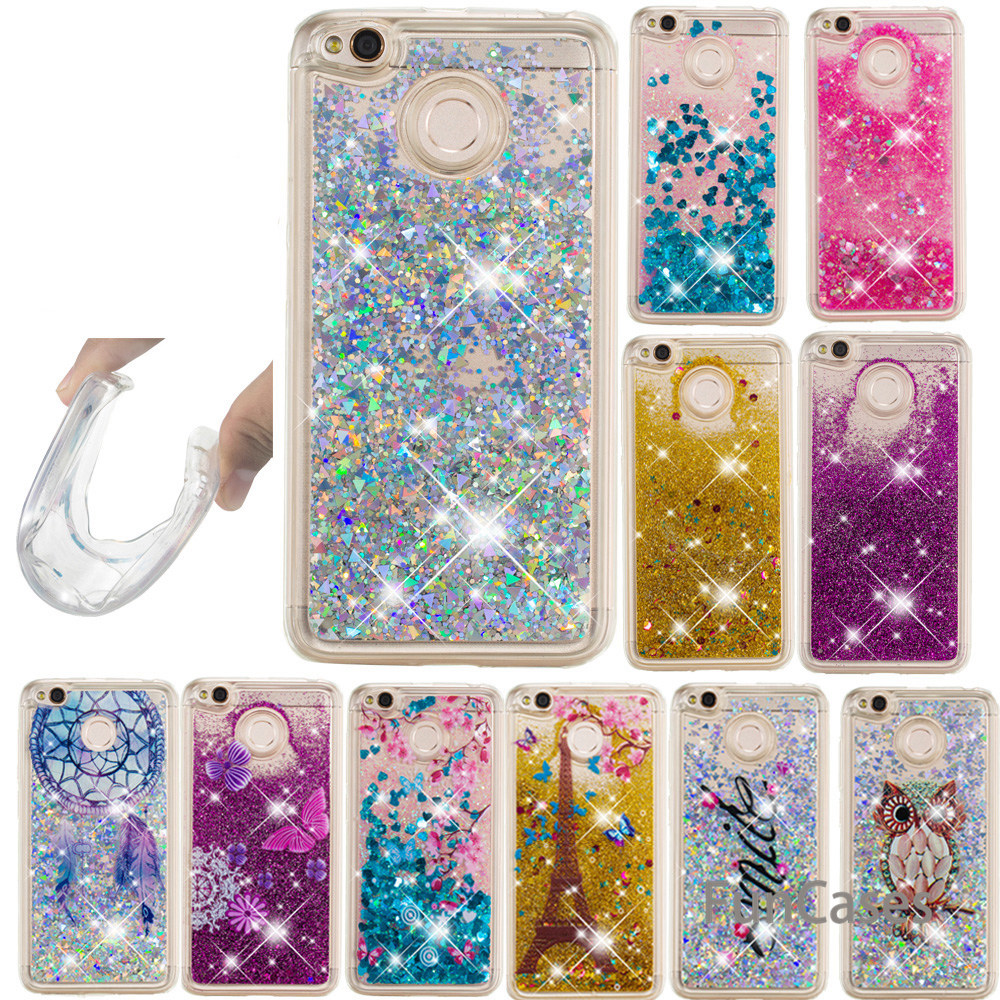 Dynamic Liquid Following Glitter Liquid Clear Silicone Case Cover For <font><b>Xiaomi</b></font> <font><b>Mi</b></font> A1 A2 8SE <font><b>MIX</b></font> <font><b>2S</b></font> Shiny Capa For Remi S2 Note 5 image