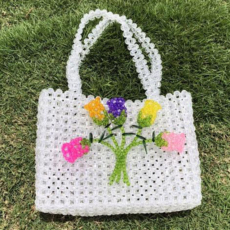 Handmade Women Crystal Pearl Bag Beaded Handmade Transparent Handbag Wedding Party Evening Bags Luxury Lady Purse Causal Tote