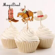 4ce188d06e2a4 MagiDeal 48pcs Set Cowboy Theme Cupcake Picks Cake Toppers Party Decoration