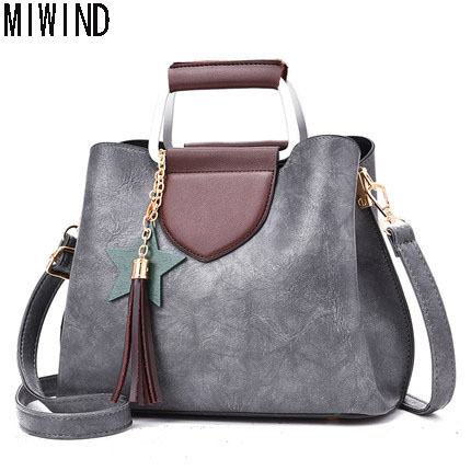 MIWIND Brand Bags Women PU Leather Handbag Famous Brands Quality Shoulder Bag fashion Tassel Crossbody Bag Messenger bag TLS1128 veevanv top quality pu leather handbag kim kardashian plaid rivet shoulder bag famous brand handbag messenger bags for women