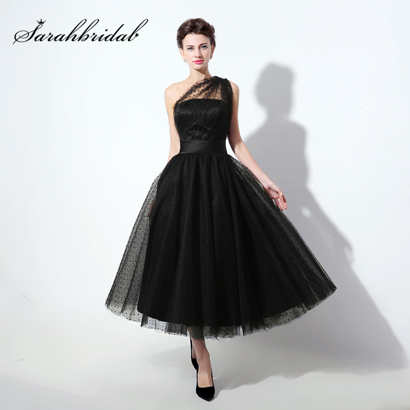 Discount Free Shipping Cwds078 One Shoulder With: Sexy Sheer Neck One Shoulder Evening Dresses Tea Length