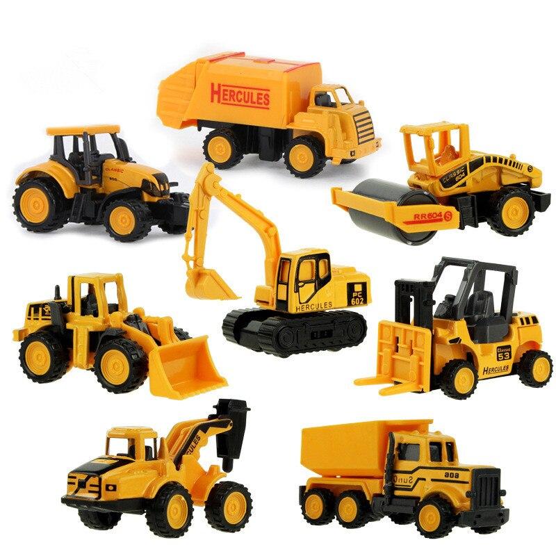 Alloy Model Car 8pcs lot Car styling Diecast 1 64 Model Toy Truck Tractor Roller Crane