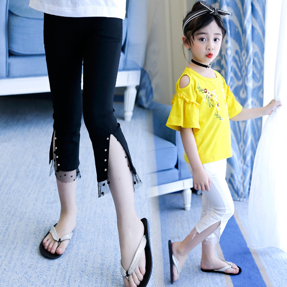 Big Girls Leggings Summer Calf-length Pants For Kids Casual Kids Flare Pants Mesh Clothes For Teen Girls 3 4 6 8 10 11 12 Years