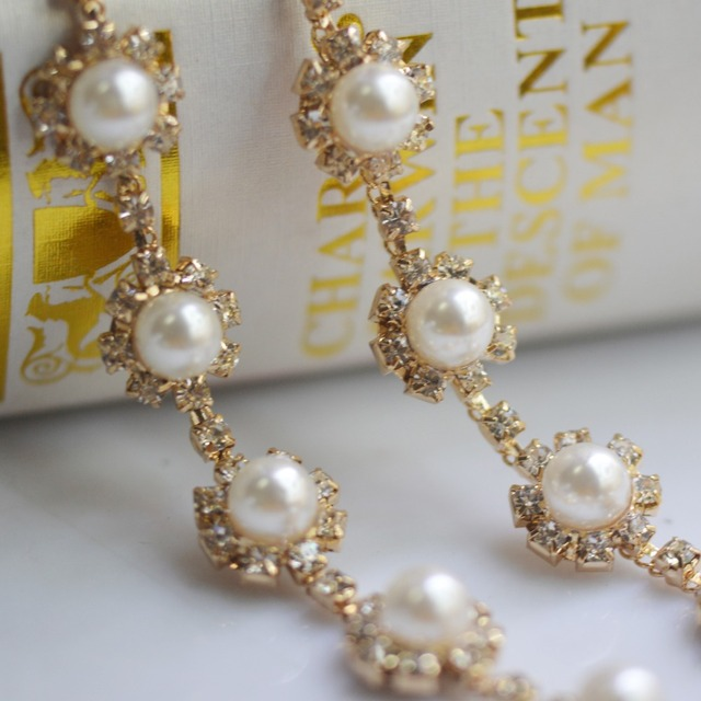 1Yard Sliver and Gold Base Pearl ball wedding crystal chain stone trimming,pearl rhinestone chain trim for decoration