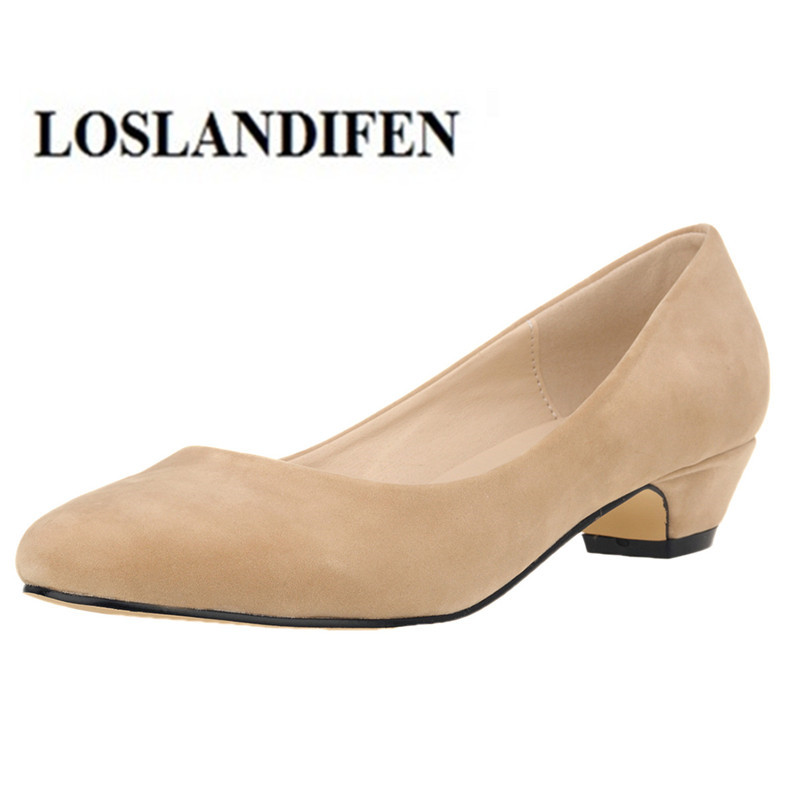 good texture closer at official store US $22.96 30% OFF|LOSLANDIFEN Women's Pump Round Toe 3 cm Kitten Heel  Stable Thick High Heel Shoes for Office Lady Women Flock Mujer Zapatos 35  42-in ...