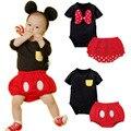 Nuevo conjunto Mickey minnie de la historieta del mameluco ropa escalada ropa ropa del mono del bebé del mameluco