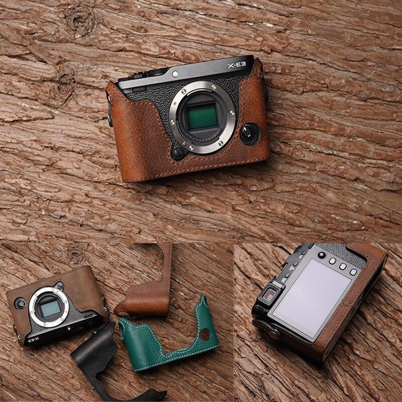 Caso de cámara de Cuero Genuino Real Medio Bolso Cubierta para FUJIFILM XE3 X-E3 Verde