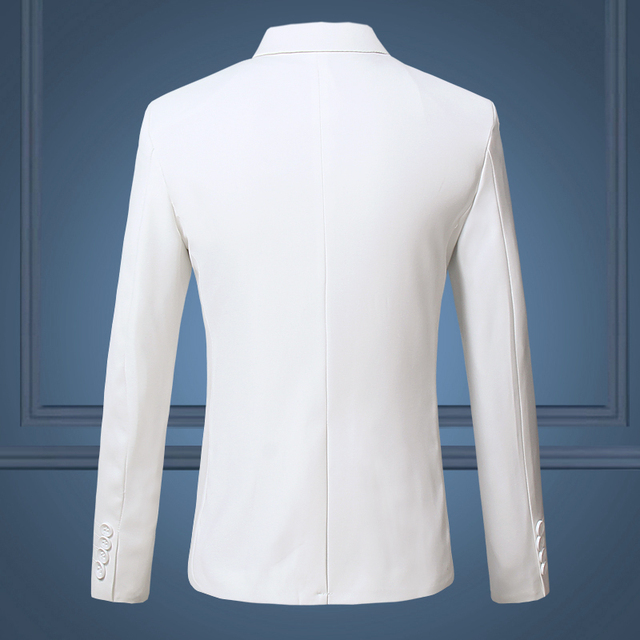High Quality Gentleman Men Slim Casual White Suit , Large Size Brands Men's business Casual Flow of Pure Color Blazers Men