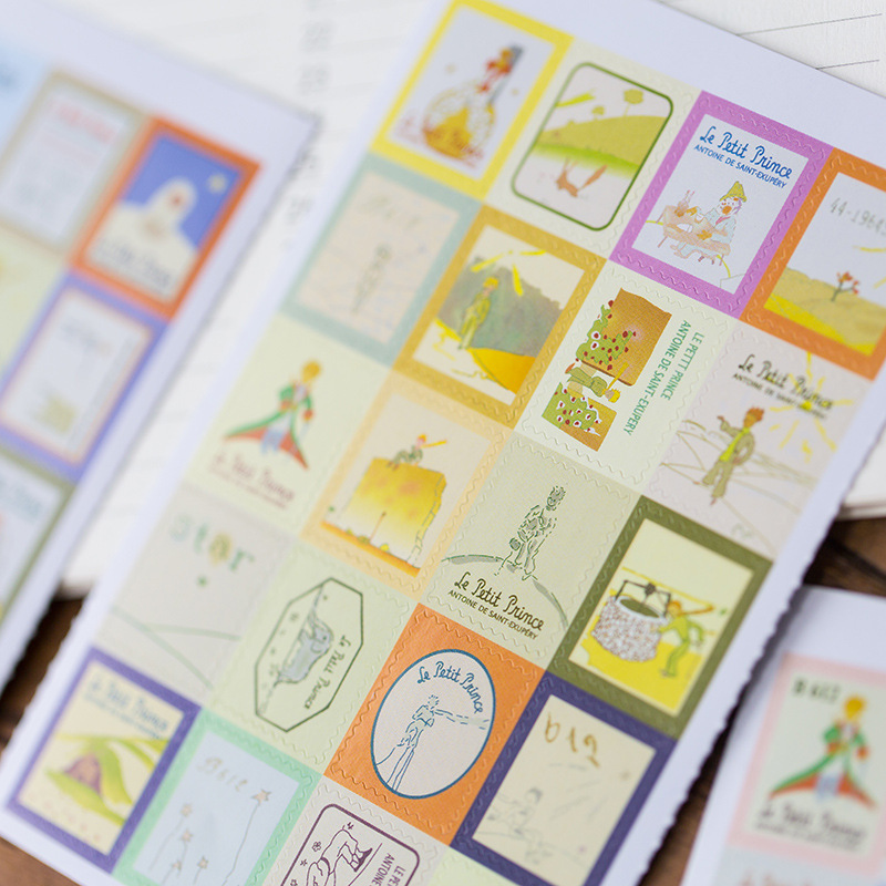 4pcs /Pack Little Prince Folding Stamp Decorative Stickers Scrapbooking DIY Diary Album Stick Label Decor