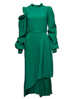 2018 Hot Sale Winter Party Dress Green Ruffles Patchwork Stand Collar Open Shoulder Vestidos Celebrity Women
