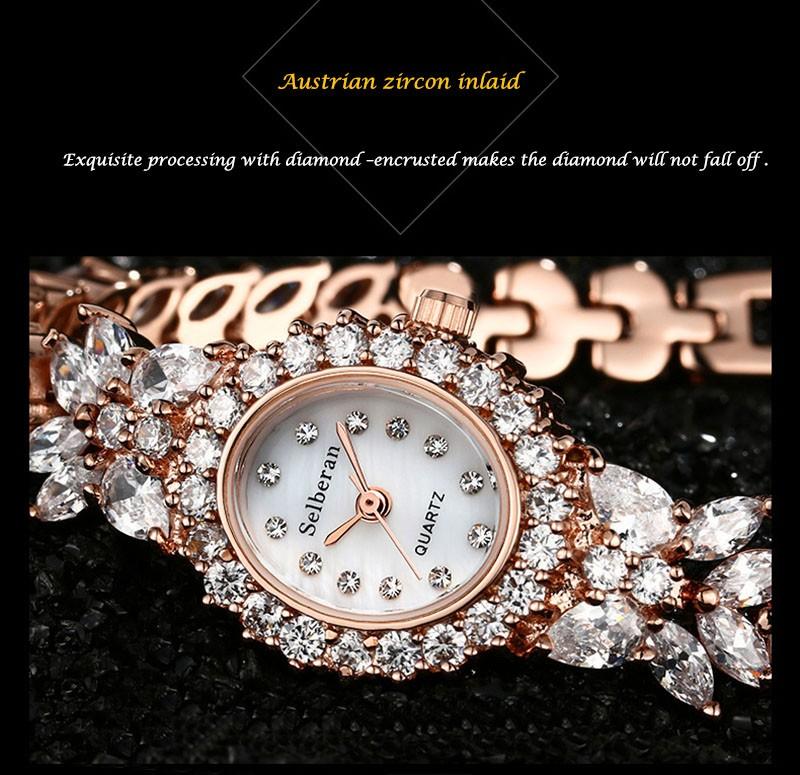 16 50M Waterproof Selberan Gold/Silver Natural Zircon Wrist Watch for Women Luxury Ladies Bracelet Watch Montre Femme Strass 5