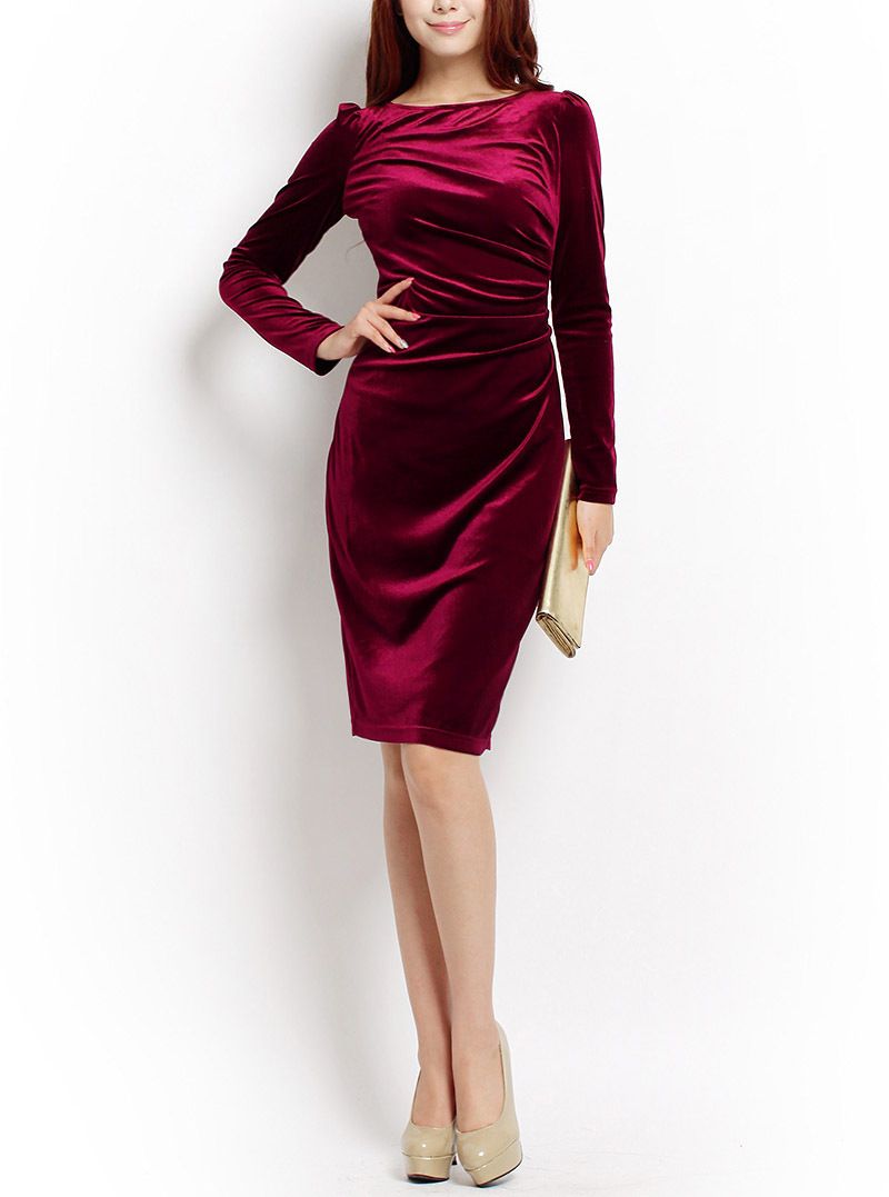 f34f91cd581c Knee Length Full Sleeve Elegant Beautiful Casual Cold Business Working Wear  Dress European Brand New Women Blue Velvet Dress 3XL-in Dresses from  Women s ...