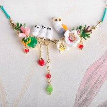 Blucome צבעוני פרח ציפורים צורת אמייל מעטפת קולר שרשרת חרוזים קטנים תכשיטי לנשים ילדה שמלות מפלגה אבזרים