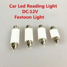 1pcs Festoon LED Ceramic White Super Bright SMD Car License Plate Light Auto Interior Dome Reading Lamp Bulbs DC 12V 6000K ly226 festoon 36mm 0 9w 36lm 9 smd 1210 led white light car interior reading lamp dc 12v 2 pcs