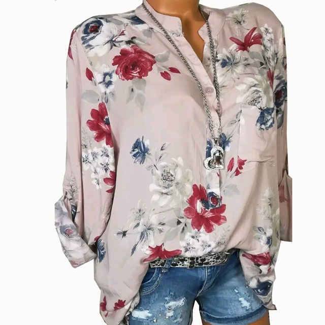 Summer Women Tops Blouses 2019 Autumn Elegant Long Sleeve Print V-Neck Chiffon Blouse Blusa Casual Loose Shirts Plus Size 5XL 2