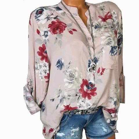 Summer Women Tops Blouses 2019 Autumn Elegant Long Sleeve Print V-Neck Chiffon Blouse Blusa Casual Loose Shirts Plus Size 5XL Lahore