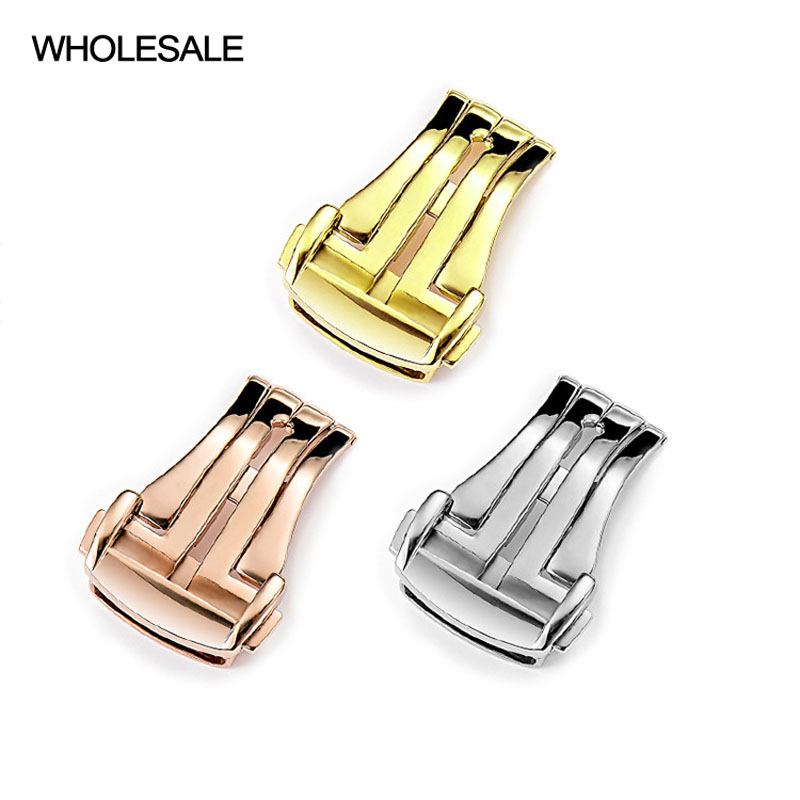 Wholesale Watch Clasp for Omega Watch Butterfly Strap Buckle 16MM 18MM 20MM Black Gold Silver Rose Gold Polished