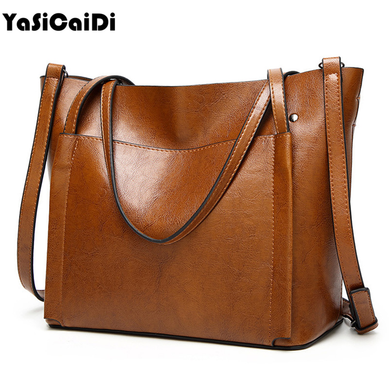 YASICAIDI Fashion Women Leather Handbags Large Capacity Tote Bag Black Oil Leather Shoulder Bag Crossbody Bags For Women Handbag yasicaidi fashion women leather handbags large capacity tote bag black oil leather shoulder bag crossbody bags for women handbag