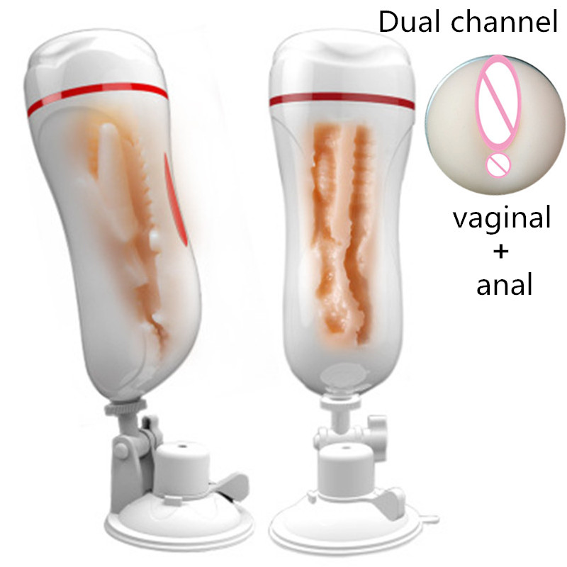 Sex Shop Sexo Double Channel Artificial Vagina Pussy Anal Vibrator Masturbator Cup With Suction Cup Sex Toys For Men Sex Machine male masturbator cup sex shop double channel male masturbator sexo realistic vagina anal pussy masturbator adult sex toy for men