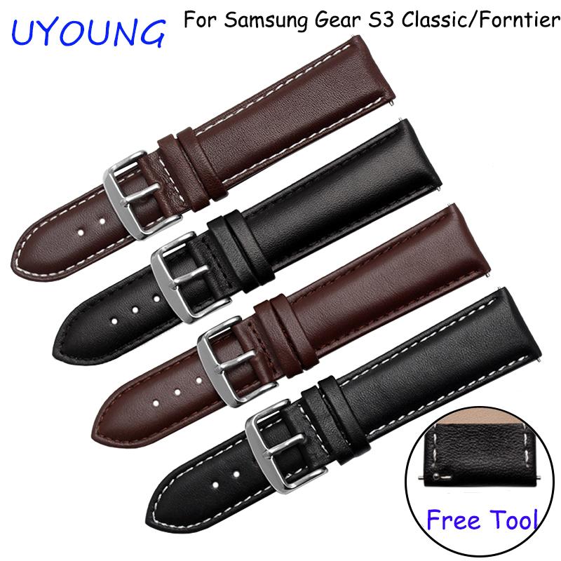 Prix pour Pour samsung gear s3 classique/forntier bracelets 22mm véritable bracelet en cuir noir brun bracelet fit samsung smart watch bande