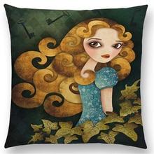 Cushion Cover Alice Mermaid Fallen Angel Lady Hatter Ravens Moon Queen Clown Girl Sofa Throw Pillow Case