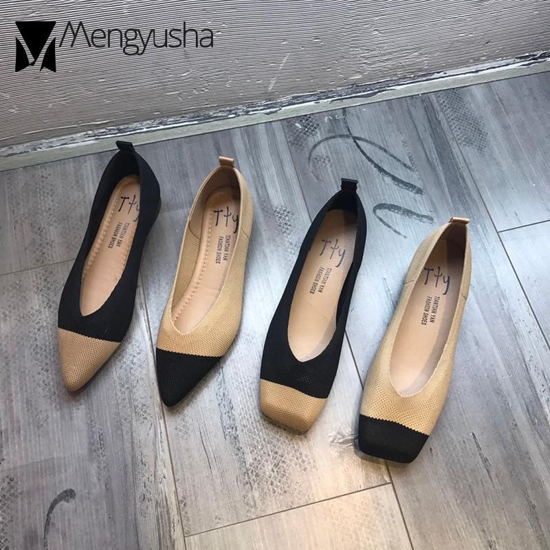100% QualitäT Neue Damen Schuhe Atmungs Gestrickte V Platz/spitz Mokassins Dicken Absätzen Gemischte Farbe Flache Müßiggänger Stretch Schuhe Frauen 2019