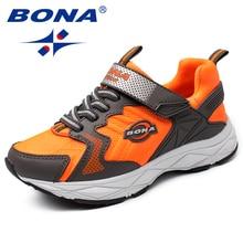 Кроссовки BONA детские на липучке, популярная стильная повседневная обувь для девочек, синтетические Лоферы для мальчиков, модная Уличная обувь