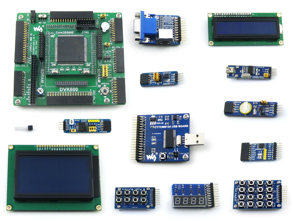 XILINX XC3S500E Spartan-3E FPGA Development  Evaluation Board + LCD1602 + LCD12864 + 12 Module = Open3S500E Package B xilinx fpga development board xilinx spartan 3e xc3s250e evaluation kit xc3s250e core kit open3s250e standard from waveshare