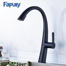 Fapully черный кухонная мойка кран масло втирают Бронзовый поворотным Носик раковина, краны бортике кухонный кран вытащить