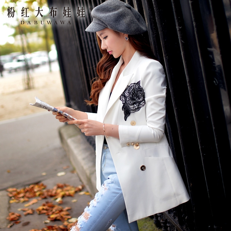 autumn 2017 womens jacket new fashion elegant handsome white female blazer women wholesale