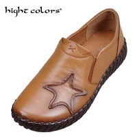 Retro National Wind Casual Handmade Leather Shoes Slip Soft Bottom Flat With Singles Shoes Middle Aged