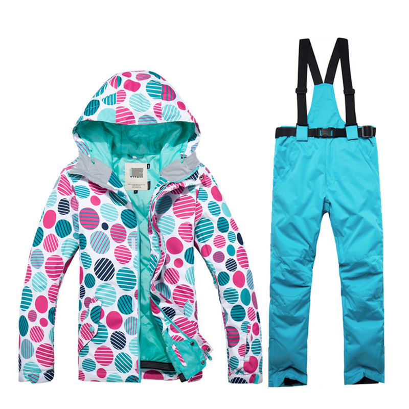 GSOU SNOW Winter Outdoor Ladies Ski Jacket Snowboard Suit Super Windproof Waterproof Breathable Ski Suit + Warm Bib Pants