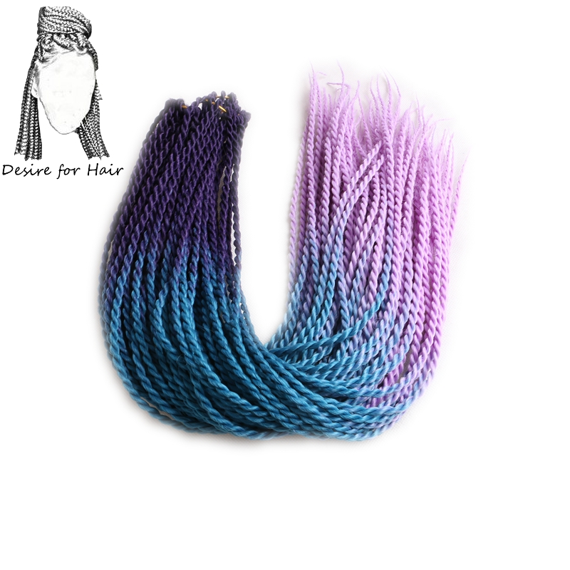 Desire for hair 1 pack 24 inch 100 g 24 strands ombre dip dye color 2X Senegalese Twist braids crocheted green grey blonde