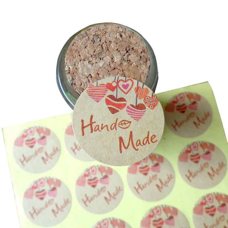 120 шт./лот ручная работа любовь звезда розовый круглый самоклеющиеся этикетки наклейки Подарочная сумка конфетная коробка украшения