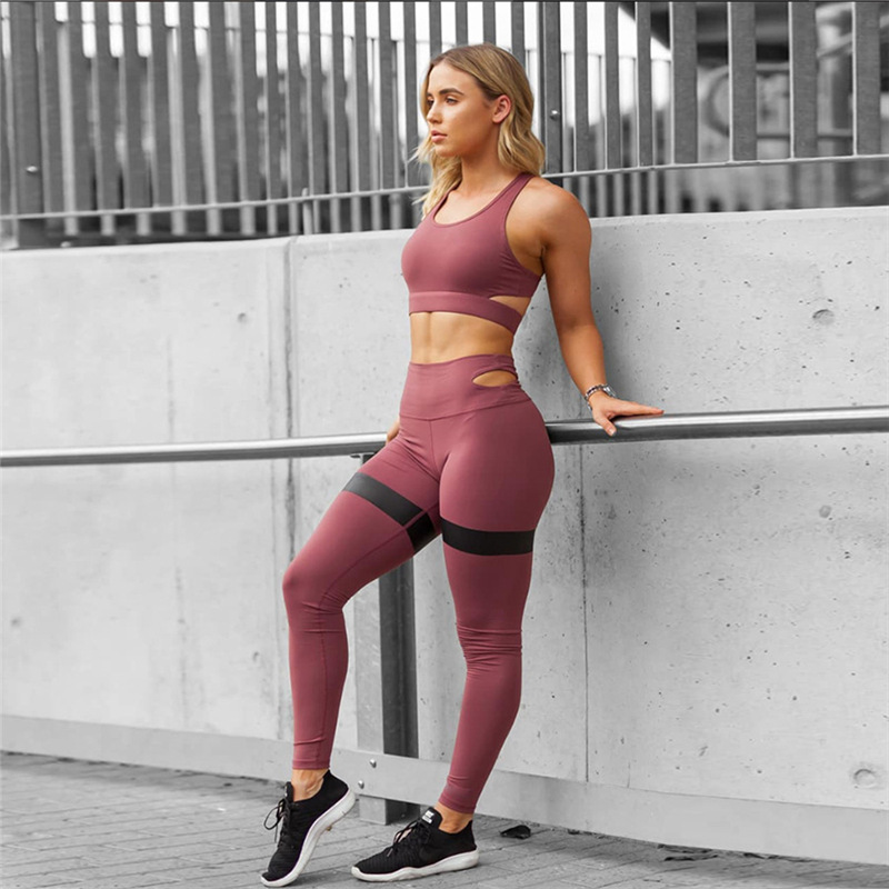 3420b2c2739 Women Yoga Set Women Slim Yoga Sets Sleeveless Exercise Shirts Gym Clothes  Spandex Running Tights Women Sports Leggings And Bra-in Yoga Sets from  Sports ...