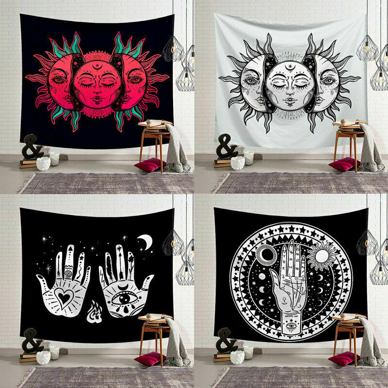 Vintage Sun And Moon Indian Mandala Tapestry Wall Hanging Hippie Bedspread Gypsy Art Decor Bohemian Beach Mat 95x73cm