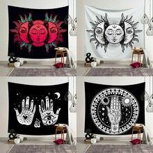 Tapiz de Mandala indio con sol y luna Vintage, colcha Hippie colgante para pared, decoración de arte gitano, estera de playa Bohemia 95x73cm