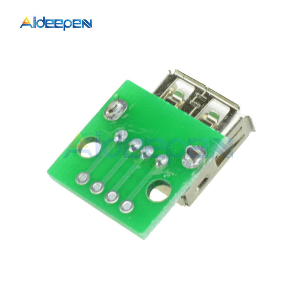 Bộ 5 Loại Một Nữ USB Để Chấm 2.54 Mm PCB Board Adapter Chuyển Đổi Cổng Kết Nối Micro USB Nữ Pinboard Cho arduino