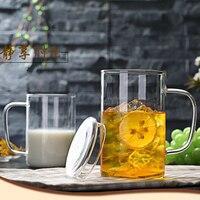 350 мл 500 мл стеклянная чаша с крышкой с чашкой молочная чашка для завтрака бытовые Простые Стеклянные Прозрачные Круглые бокалы для вина