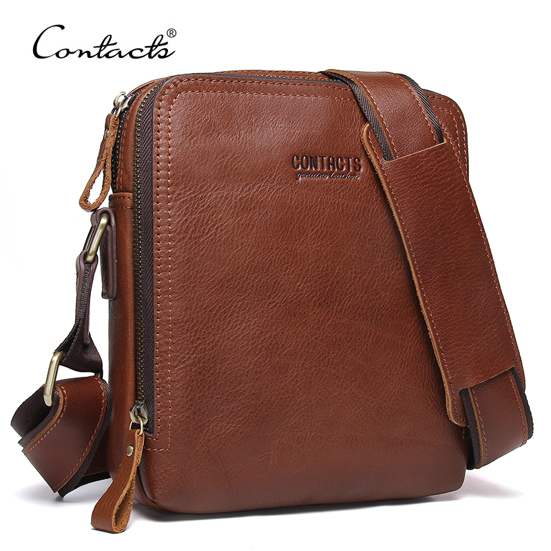 все цены на CONTACT'S 2018 New Fashion Men Bags Men's Shoulder Bag Famous Brand Design Genuine Leather Messenger Bag High Quality Vintage