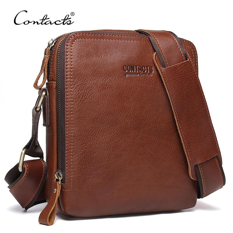 CONTACT'S 2018 New Fashion Men Bags Men's Shoulder Bag Famous Brand Design Genuine Leather Messenger Bag High Quality Vintage